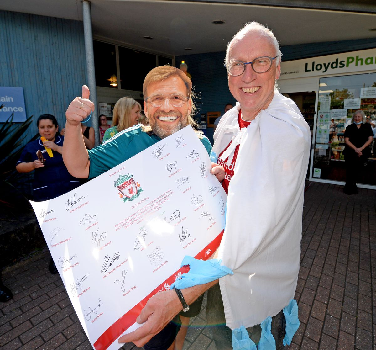 A signed Liverpool poster courtesy of manager Jurgen Klopp