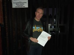 A34 member Owen O'Neill with the group's letter of intent. Photo: A34 Safety Action Group