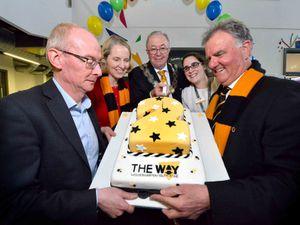 L-R: MP Pat McFadden, MP Emma Reynolds, Deputy Mayor Phil Page, chief executive at The Way Carla Priddon, and chairman of The Way John Gough
