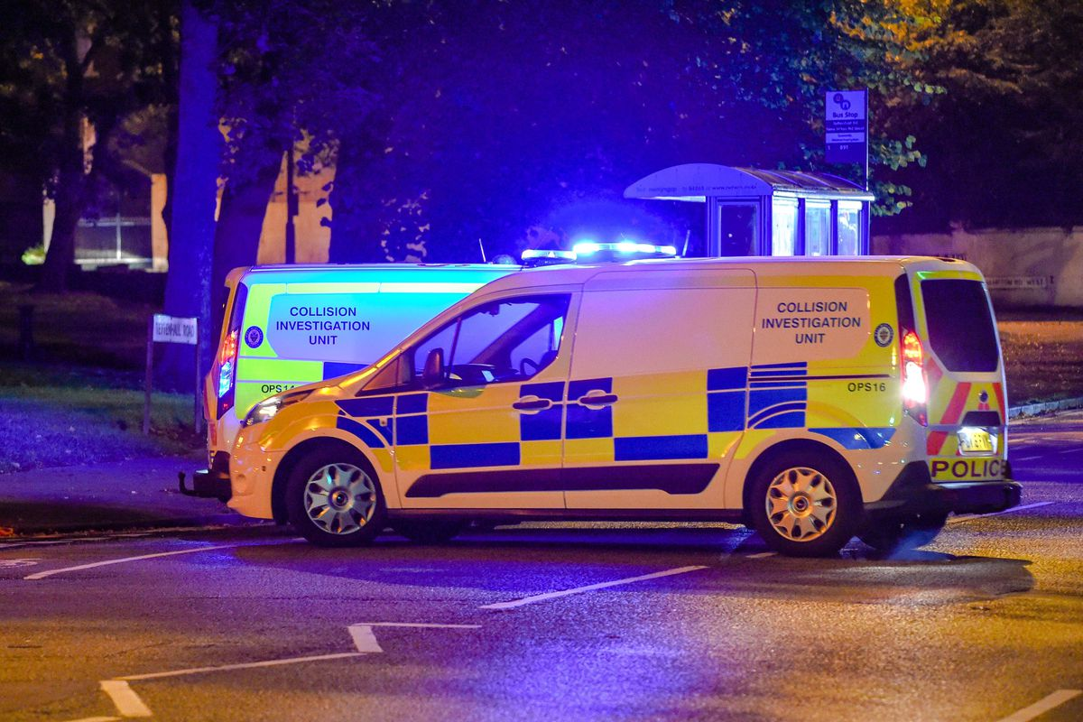 Collision investigation teams were at the scene last night. Picture: @SnapperSK