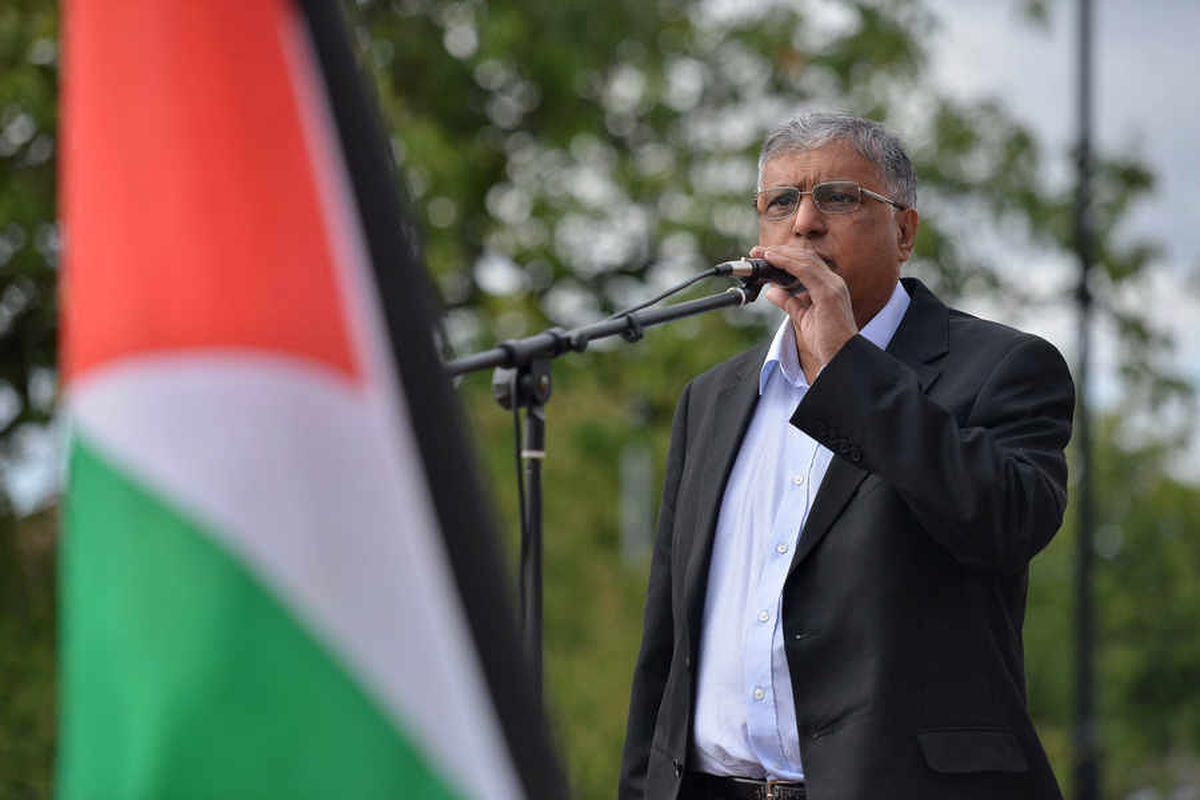 Naeem Malik, Chair of West Midlands Palestine Solidarity Campaign, outside Cannock Magistrates Court