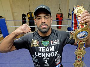 SPORT  COPYRIGHT TIM STURGESS EXPRESS AND STAR...... 30/03/2021  British and Commonwealth boxing  champ Lennox Clarke from Halesowen  at BCB gym  in Wednesbury with the belts he won over the weekend..