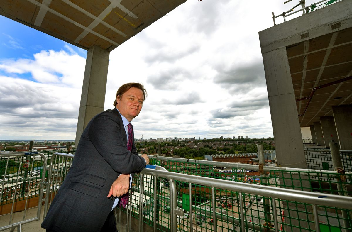 Toby Lewis at the building site in 2017