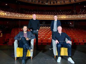 On stage to help the Grand Theatre; Don Goodman, Steve Bull, Johnny Phillips and Steve Froggatt
