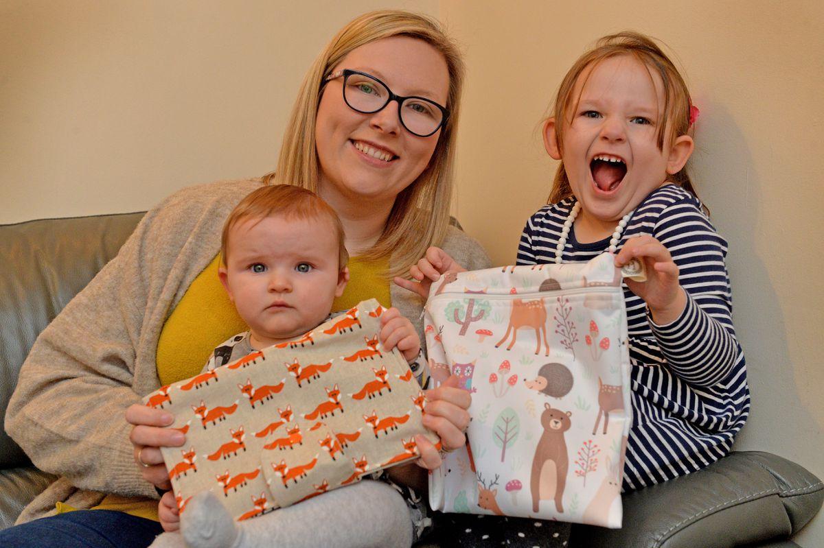Katy Holden with her children Aubrey and Niamh