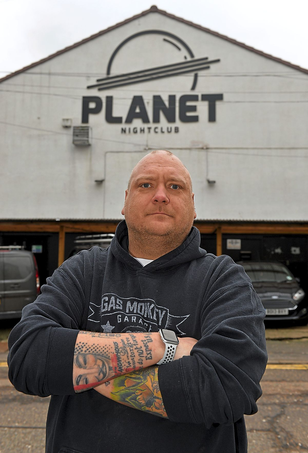 Club owner Michael Ansell outside The Planet Nightclub, Wolverhampton