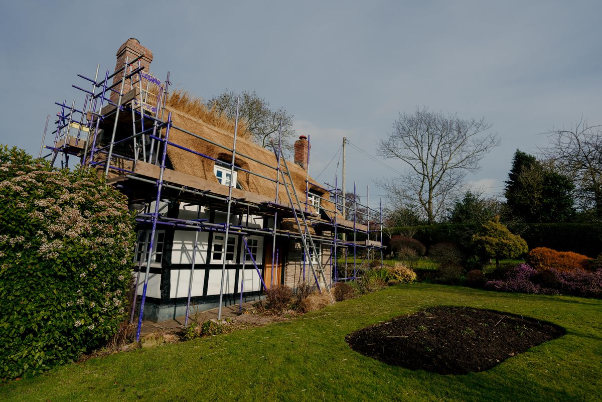 The house in Middleton On The Hill which is being thatched