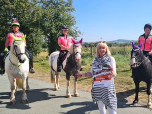 Councillor Karen Shakespeare (front) with from left to right Kate Rogers, Sarah Lutwyche and Abi Rogers who will be taking part in the ride
