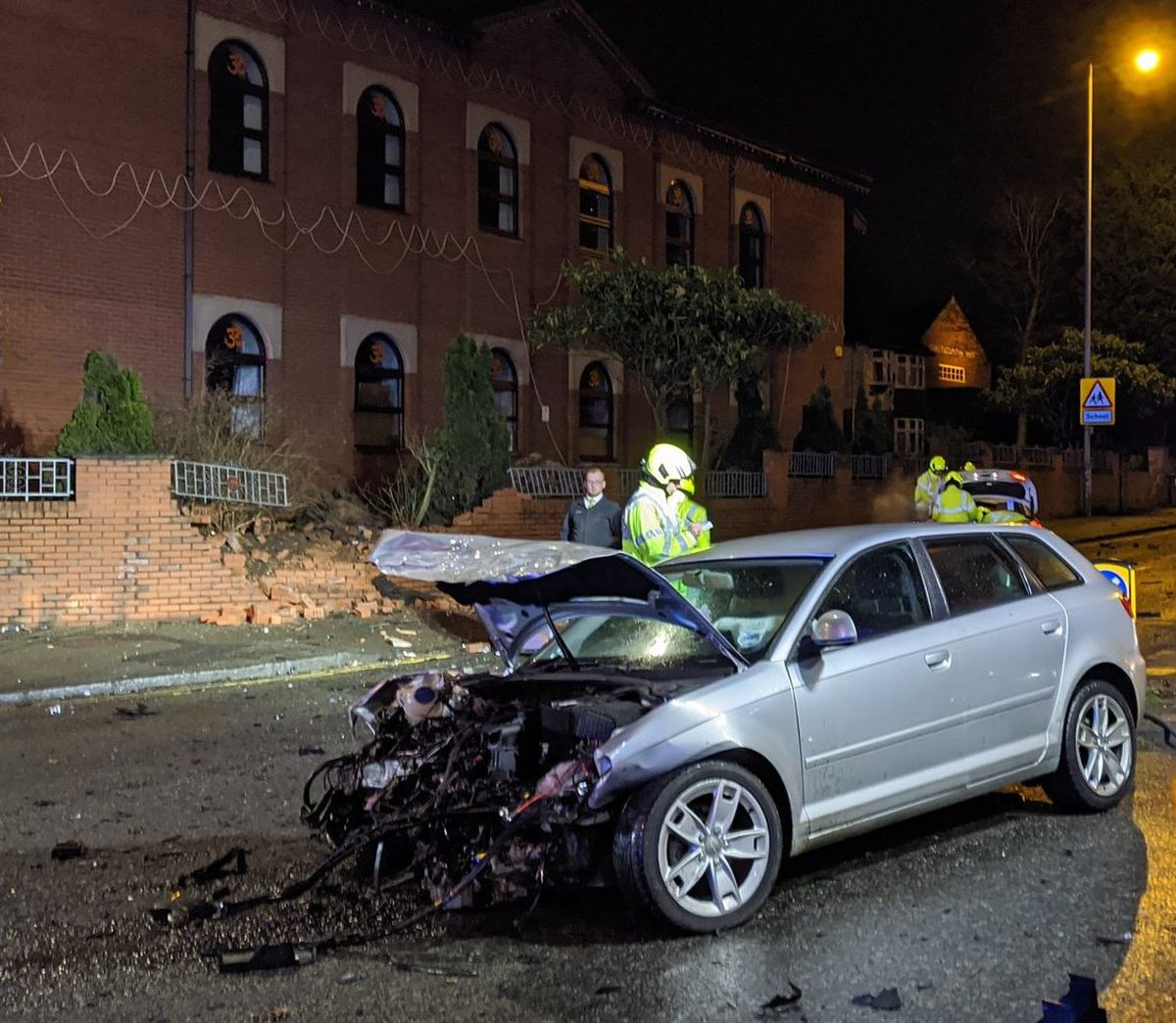 The front-end of this car was also damaged and a temple wall knocked over. Photo: Wolverhampton Fire