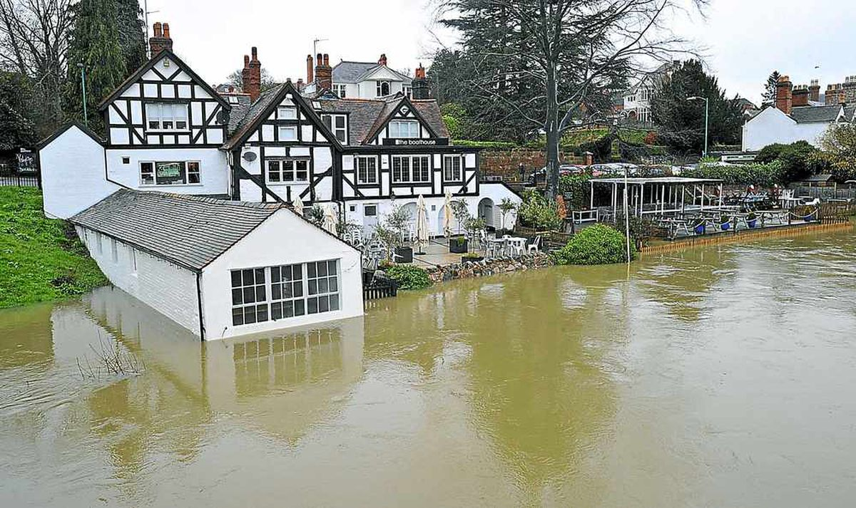 Function rooms at The Boathouse in Shrewsbury have been flooded as river levels continue to rise because of the rain