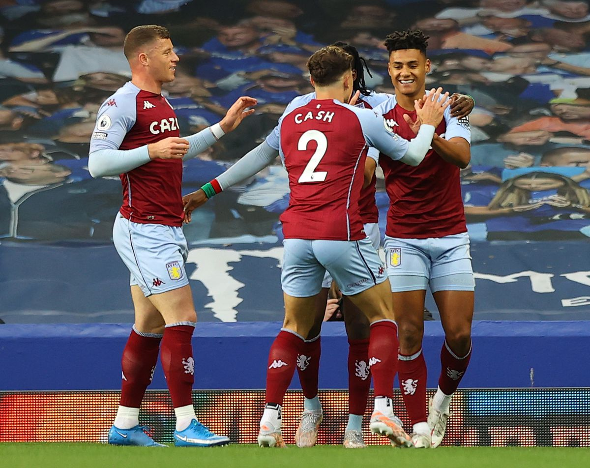 Aston Villa's Ollie Watkins (right) celebrates scoring their side's first goal of the game