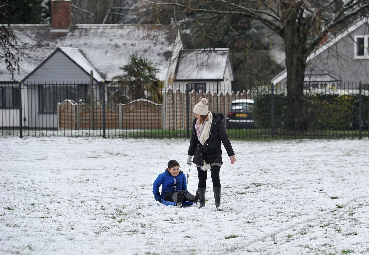 A sledge ride in the snow in Rugeley