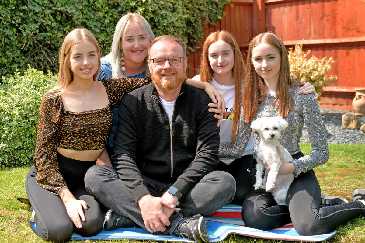 Left to right: Maia, Angela, Darren, Freya, Esme and Beau the dog