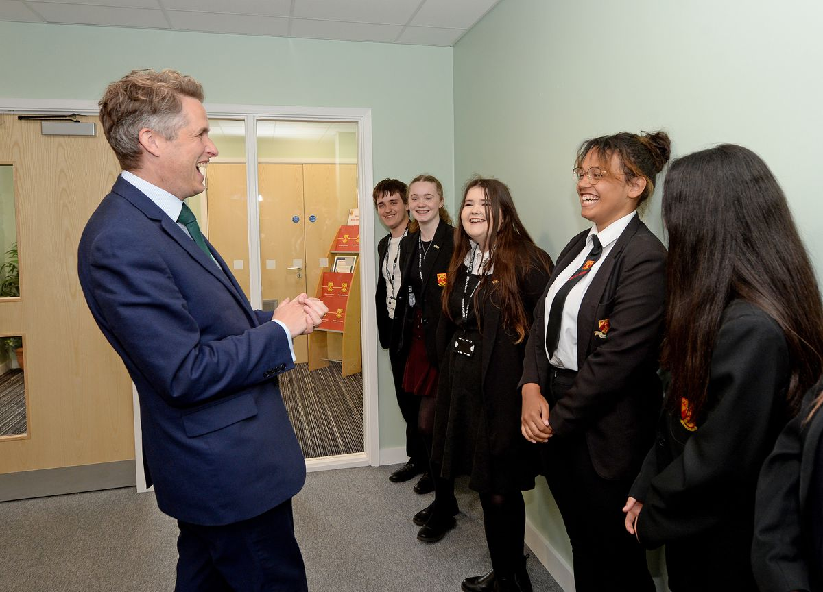 Education Secretary Gavin Williamson officially opens a new building at Nether Stowe School, Lichfield