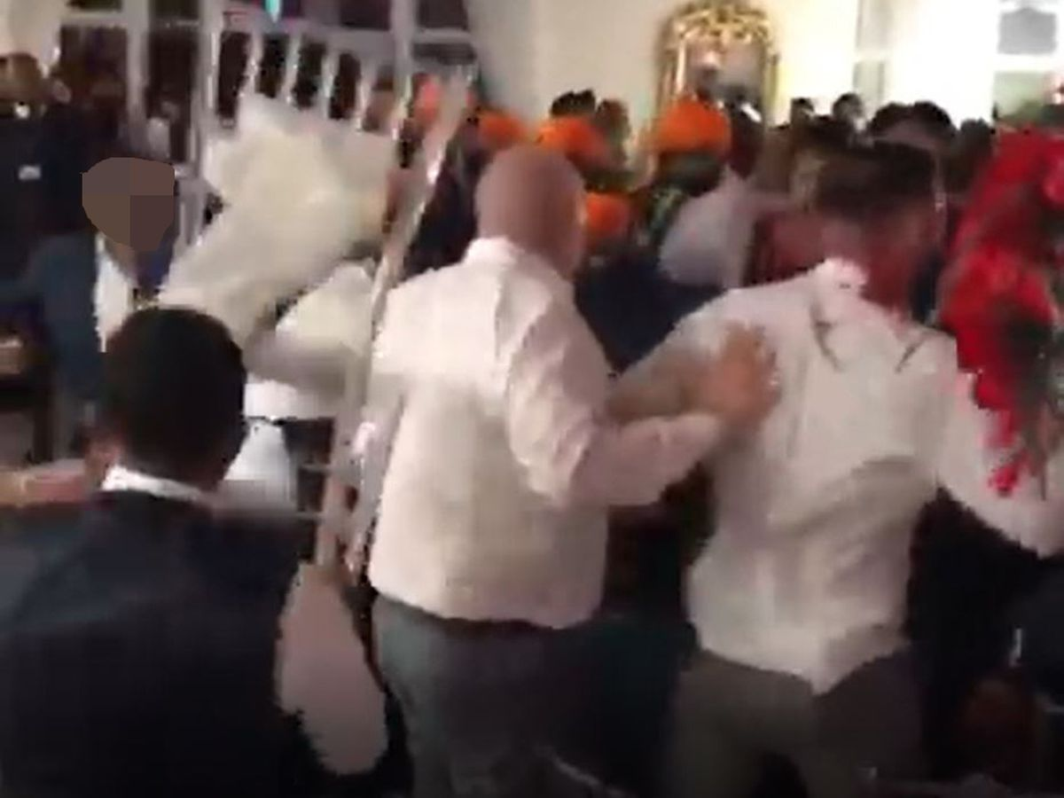The moment the wedding brawl erupted at the Ramada Park Hall Hotel, in Wolverhampton. Image: Facebook