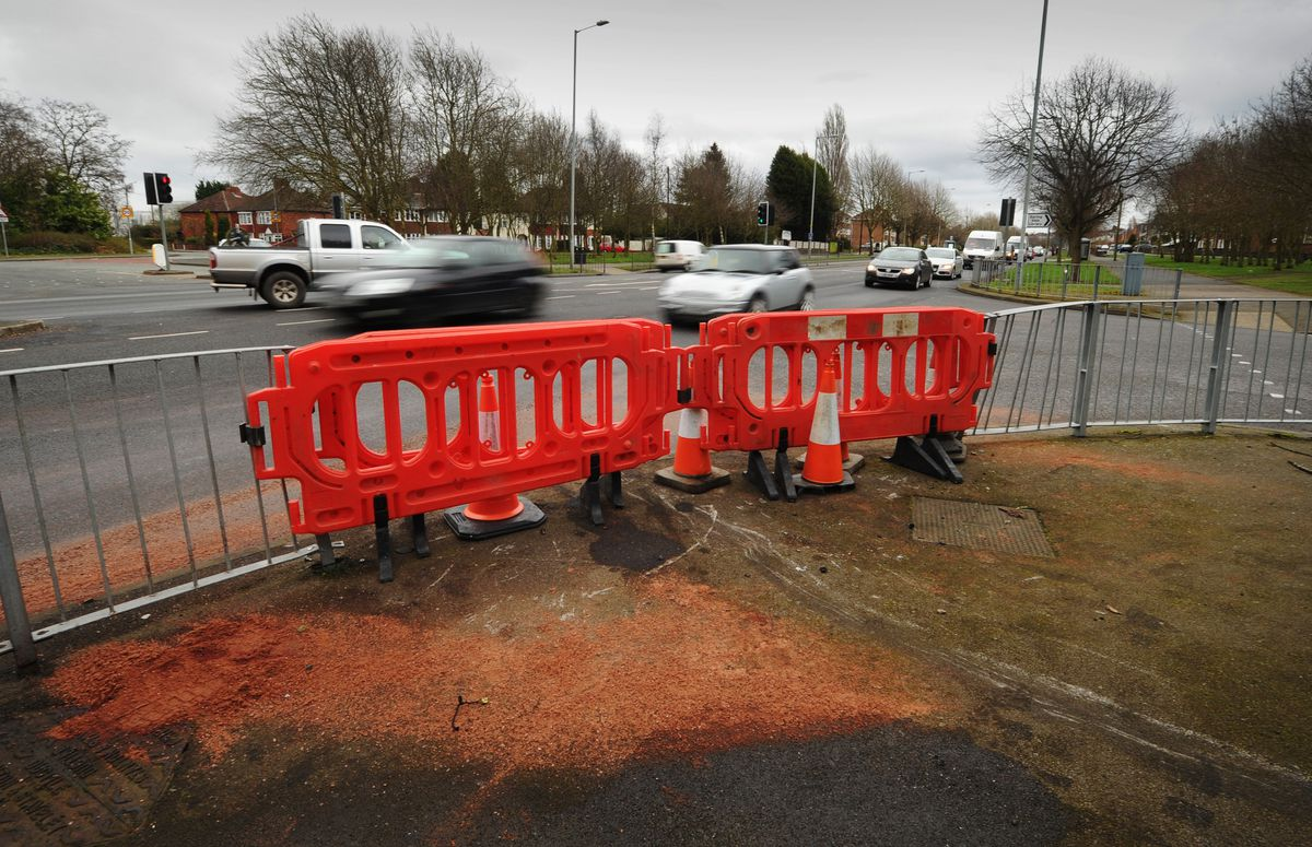 The crash happened at the junction of Birmingham New Road and Lawnswood Avenue