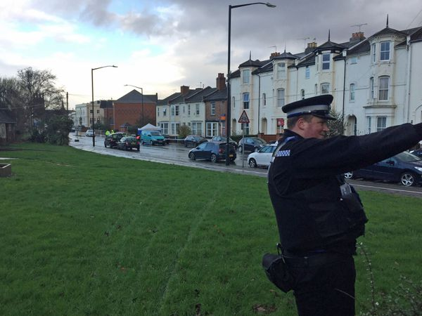 Police at the scene in Tachbrook Road, Leamington Spa, after the death of Nasir Patrice
