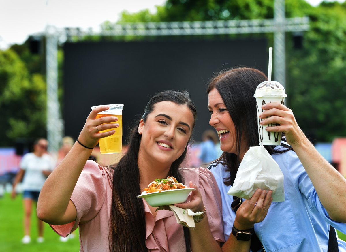 Iesha Bishton, and Danielle Bishton show off some of the food and drink on offer
