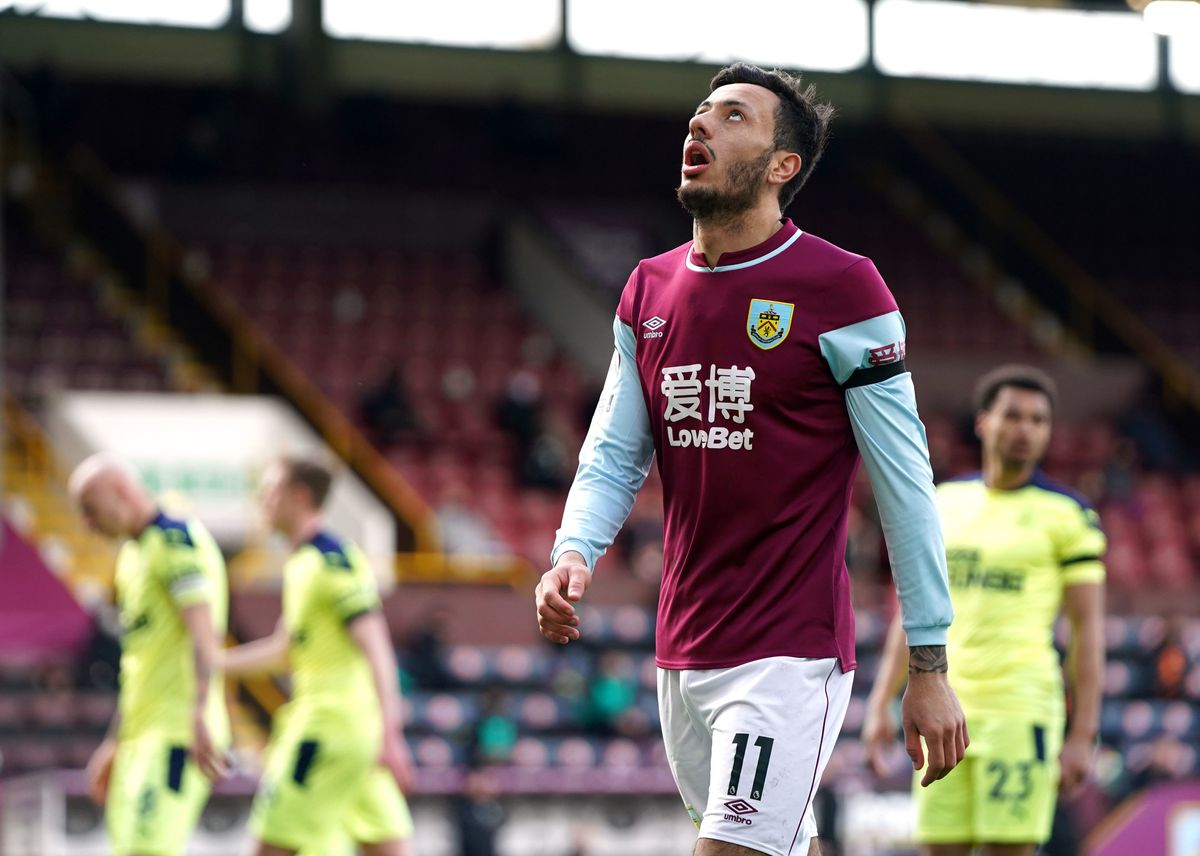 Burnley's Dwight McNeil reacts to a missed chance