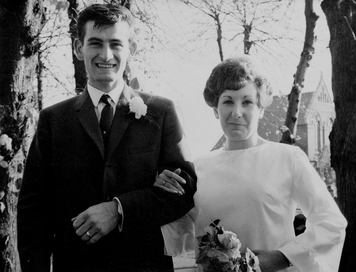 Margaret and Brian Hill, from Willenhall, pictured on their wedding day at St Thomas's Church in Wednesfield