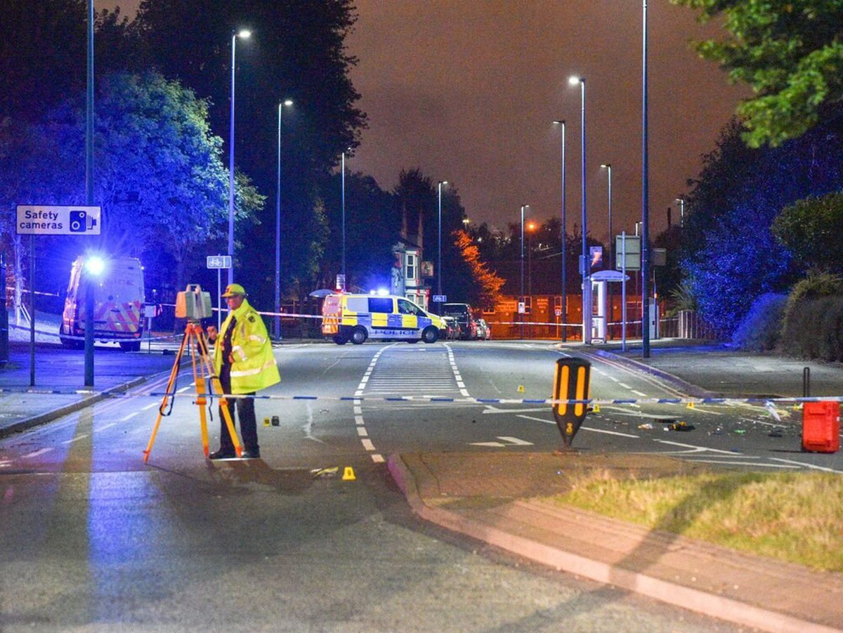 Police at the scene of the crash in Horseley Heath. Photo: SnapperSK
