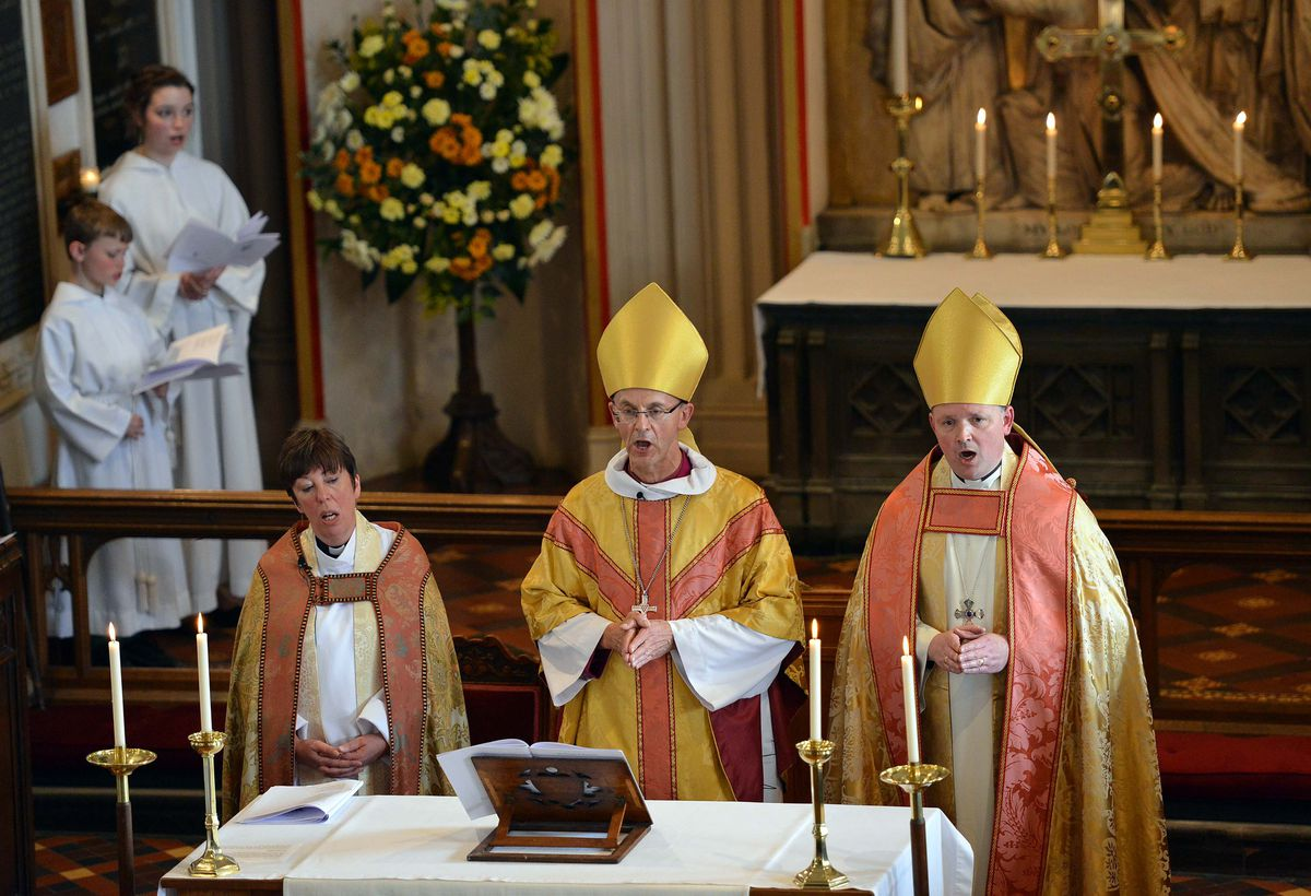 The Bishop of Worcester Dr John Inge (centre) spoke about his late wife's view of resurrection