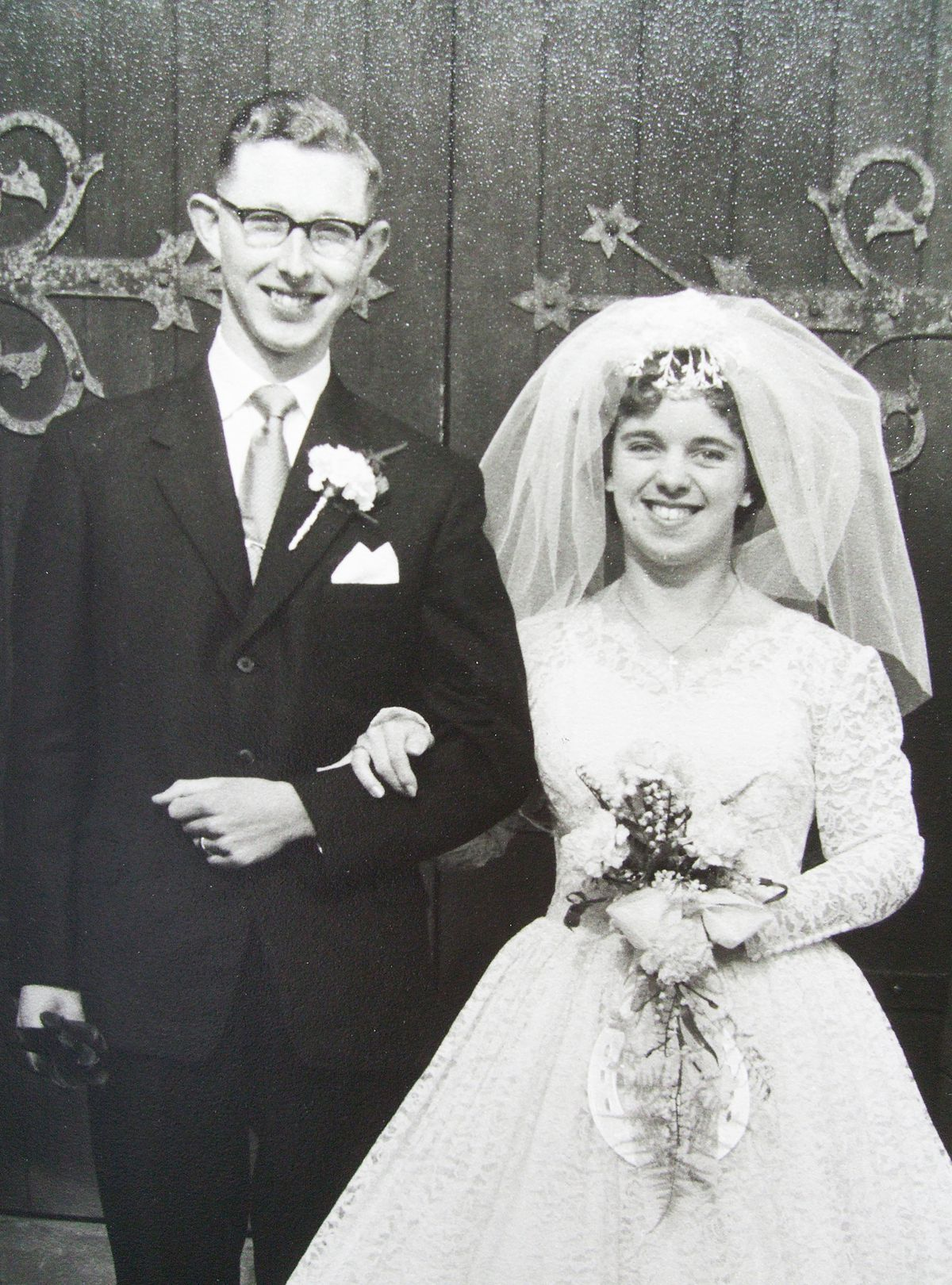 Don and Pat Bannister on their wedding day at St Philip's Church, Wolverhampton, on March 4, 1961