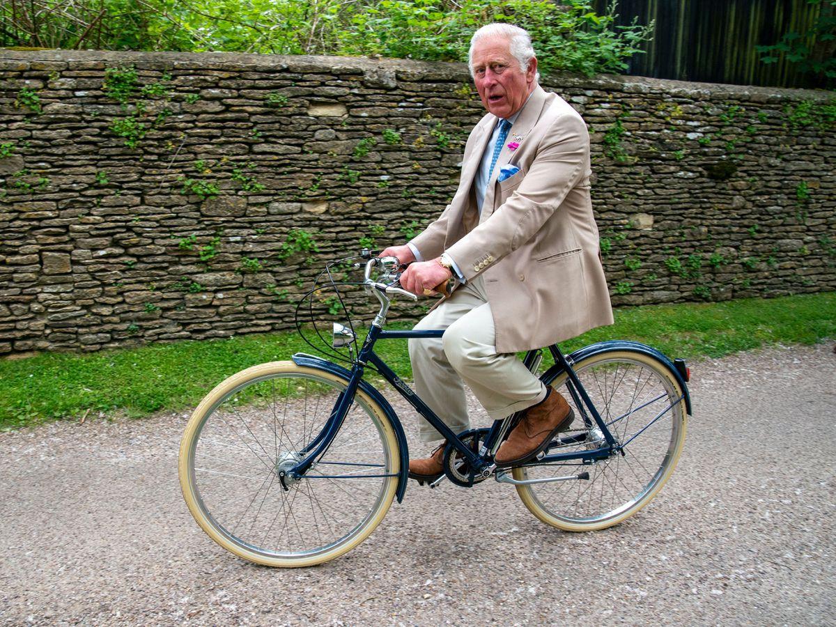 The Prince of Wales on a bike