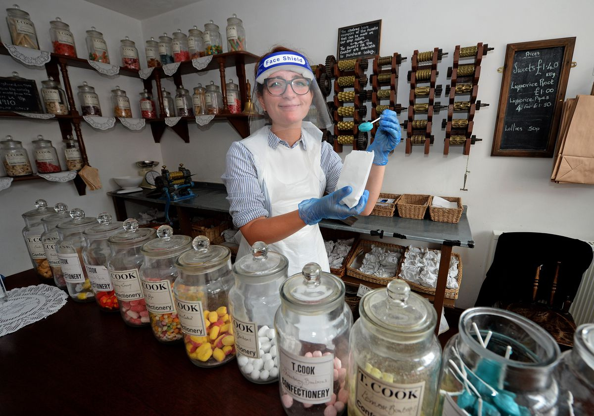 Melody Franks at work in the sweet shop