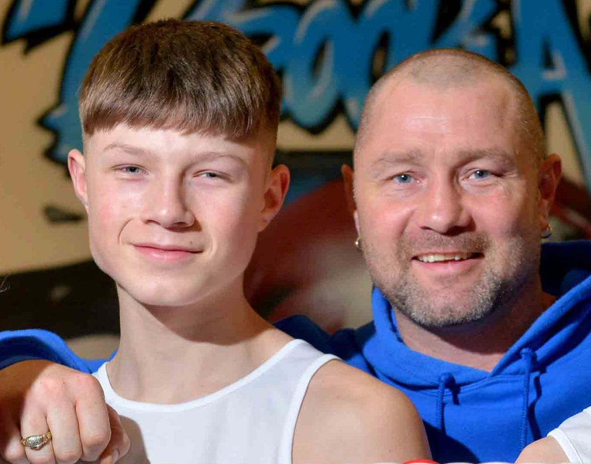 DUDLEY COPYRIGHT EXPRESS AND STAR STEVE LEATH 05/03/2019..Pic in Woodsetton at Brooklands Boxing Club run by Darren McDermott . Boxers: Kian McDermott 14 from Woodestton, and on right: Kai Fellows 14 (Coseley),  Kian and Kai have become Midlands Champions ..