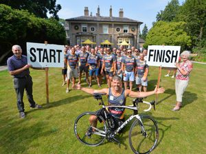Ready to take part in the challenge are, front, Brendon Turner, with support from Hugh Porter and Anita Lonsbrough