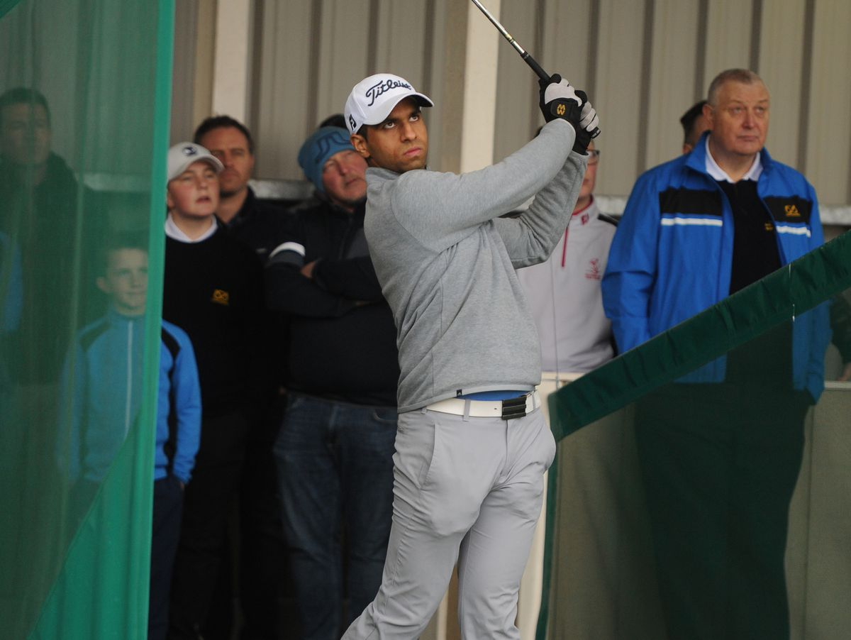 Aaron Rai, during a practise session, at the Darren Prosser Golf Academy, Kingswinford Golf Centre
