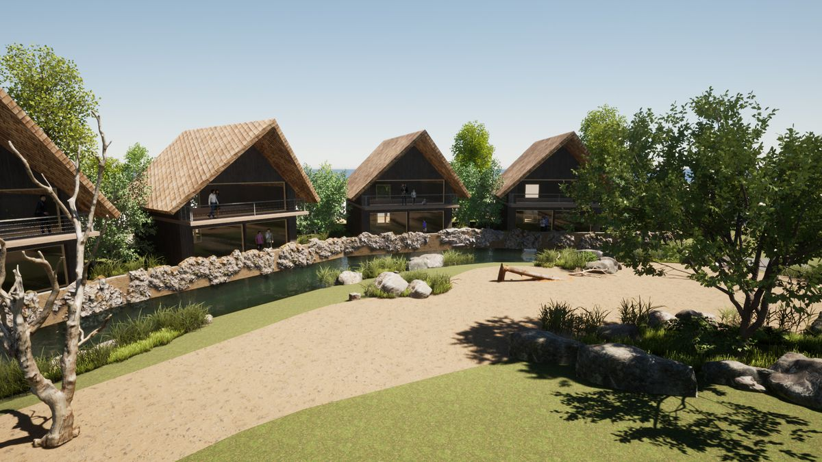 3D concept render of the Rhino Lodges exterior