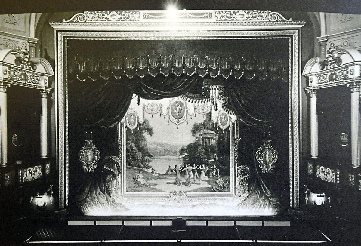 The ornate fire curtain, in 1945
