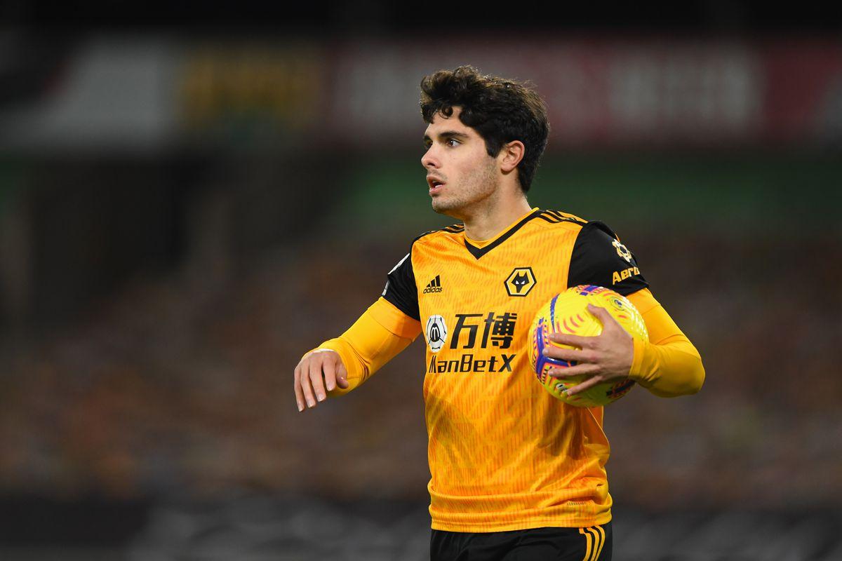Pedro Neto of Wolverhampton Wanderers celebrates after scoring a goal to make it 1-1. (AMA)