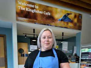 The Kingfisher Cafe at the Wolseley Centre in Rugeley has reopened to the public. Pictured is cafe supervisor Nina Crowsley with food for humans and ducks