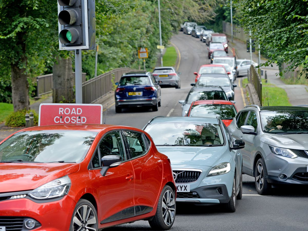 Traffic queues at the junction of Windmill Lane and Bridgnorth Road, which has been closed by police