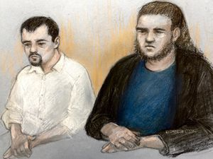 Court artist sketch by Elizabeth Cook of David Leesley, left, and Nathan Maynard-Ellis appearing at Coventry Crown Court for the alleged murder of Julia Rawson