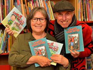 Broadcaster and poet Brian Dakin aka Billy Spakemon hosting book signing for his latest work unearthing more on the life of Dandy comic book artist Charlie Grigg at Halesowen Library with Carol Yapp