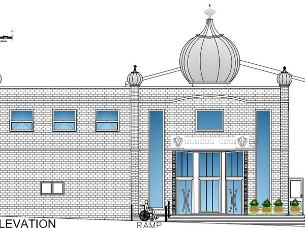 Proposed extension of Gurdwara Guru Hargobind Sahib temple on Britannia Street, Oldbury. Photo: Sandwell Council