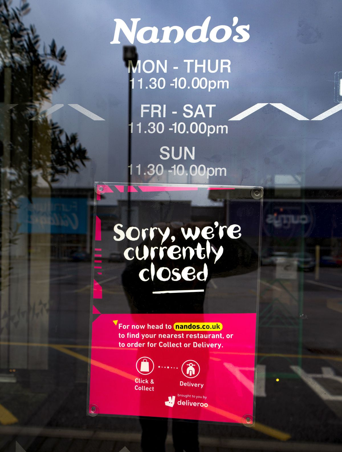 Some restaurants have signs up explaining the closure, such as this branch in Manchester