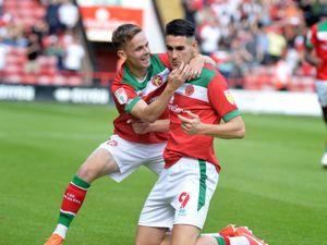Conor Wilkinson celebrates his goal in the win over Stevenage