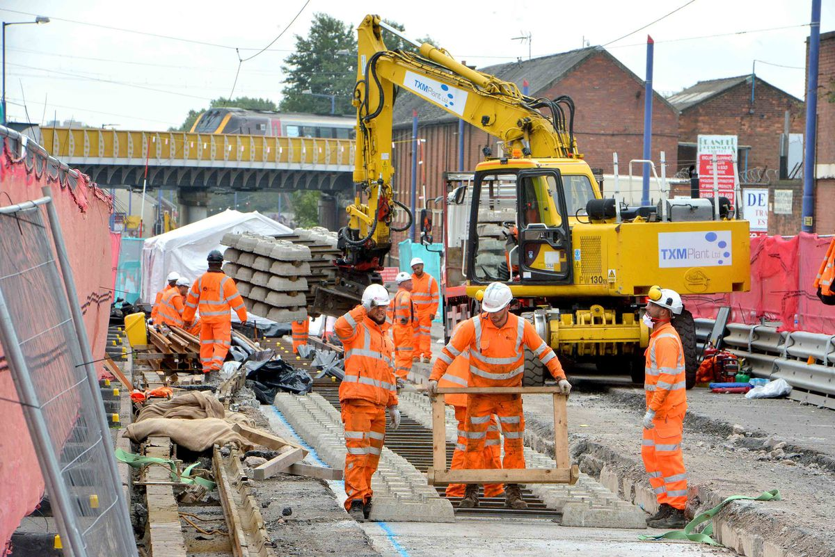 Workers tore up Bilston Road during Metro works in 2017.
