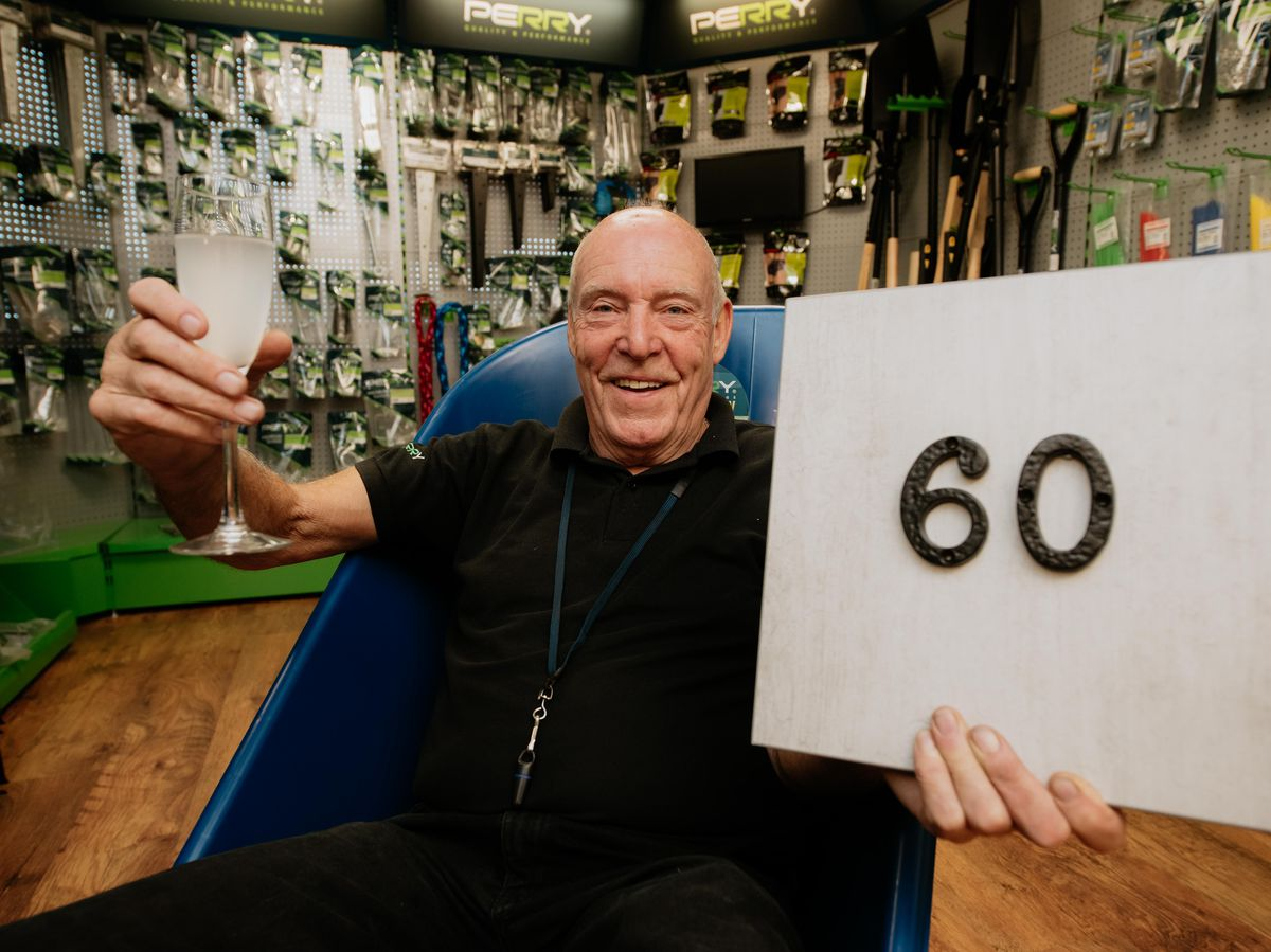 Barry Loughran celebrates 60 years working at A Perry Ltd in Cradley Heath