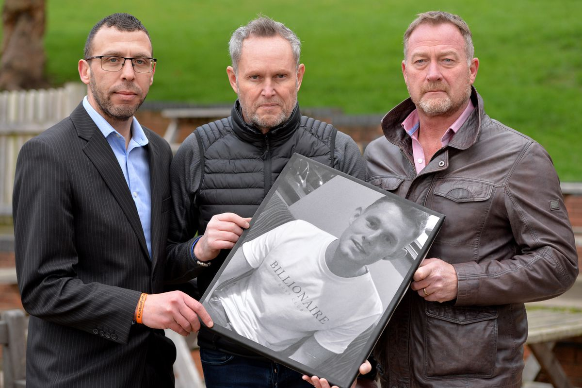The father of Ryan Passey, Adrian (centre), with private investigator Russ Winfield and Jason Connon