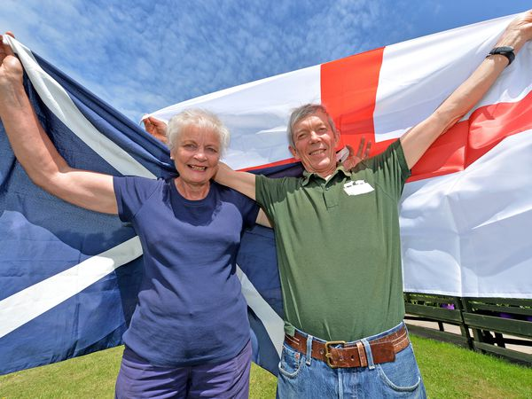 WOLVERHAMPTON  COPYRIGHT TIM STURGESS EXPRESS AND STAR...... 17/06/2021  Richard and Mary Simkin from Essington  with England and Scotland football flags as they look forward to the England vs Scotland game.