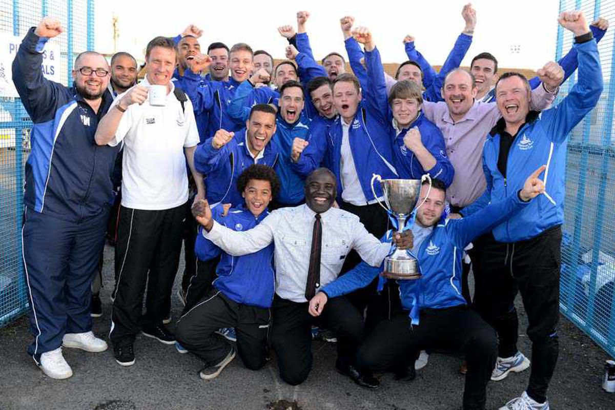 The team celebrate promotion to the Northern Premier League at the end of last season – now their sights are on getting into the top tier of the Conference.