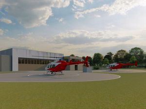 An artist's impression of the new air ambulance headquarters at Cosford.
