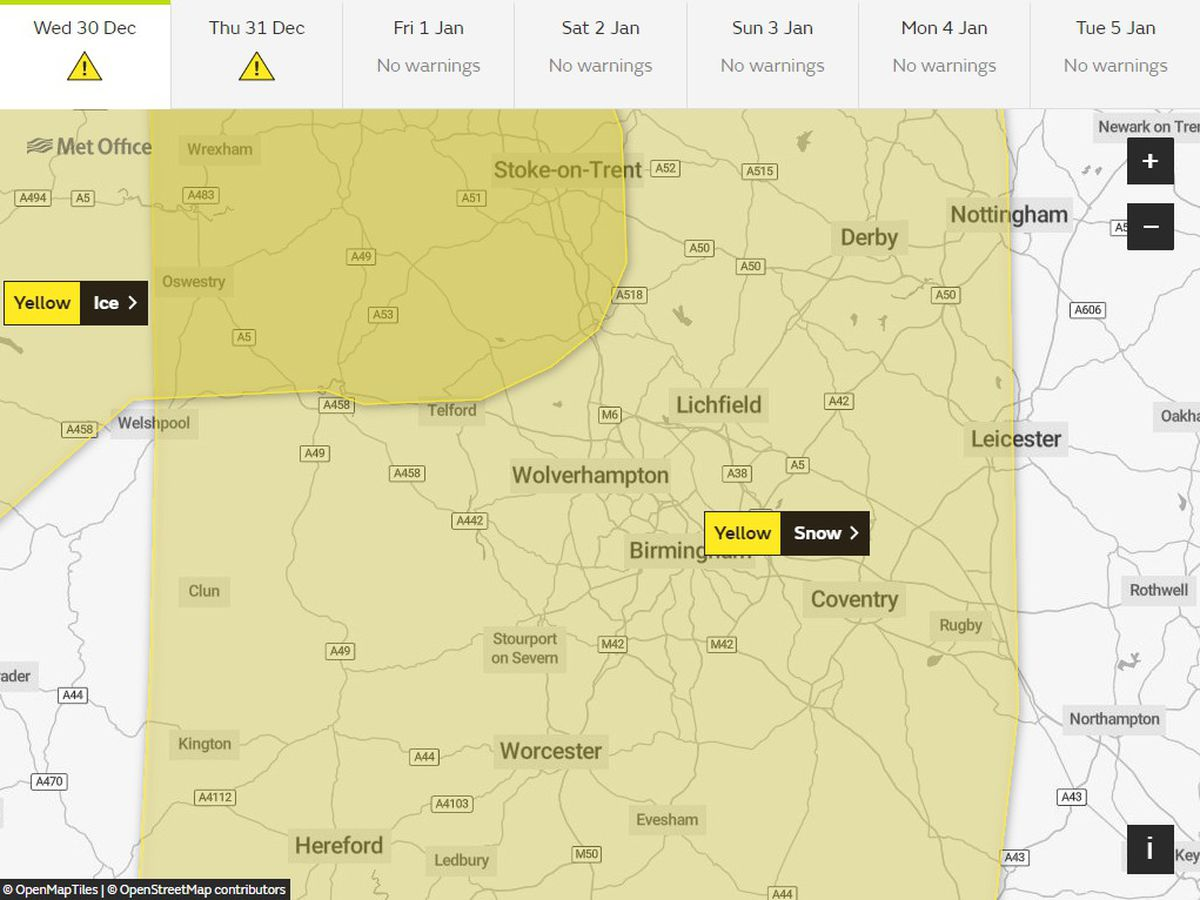 Yellow weather warnings for snow and ice have been issued by the Met Office for today across the region