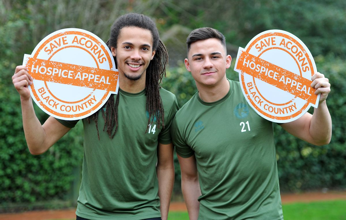 Walsall FC players Callum Cockerill-Mollett and Kory Roberts visited Acorns Hospice, Walsall, to show their support for the campaign to keep the hospice open